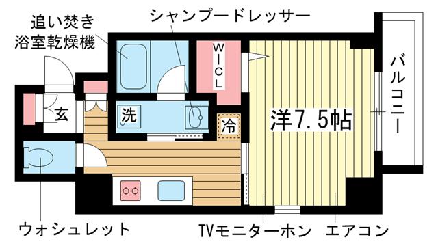 物件番号: 1025865807 YAMATE435  神戸市中央区中山手通4丁目 1K マンション 間取り図