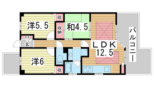 物件番号: 1025865915 サムティ三宮レガニール  神戸市中央区雲井通3丁目 3LDK マンション 間取り図