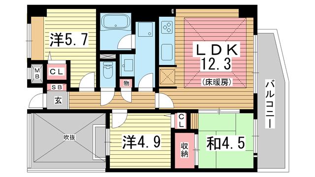 物件番号: 1025865953 ジオコート元町山手  神戸市中央区下山手通8丁目 3LDK マンション 間取り図