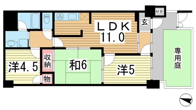 物件番号: 1025866159 朝日プラザ新神戸  神戸市中央区生田町1丁目 3LDK マンション 間取り図