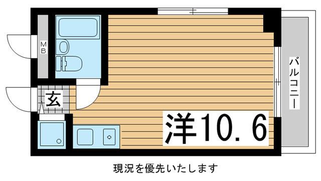物件番号: 1025866204 メゾンドール下山手  神戸市中央区下山手通3丁目 1R マンション 間取り図
