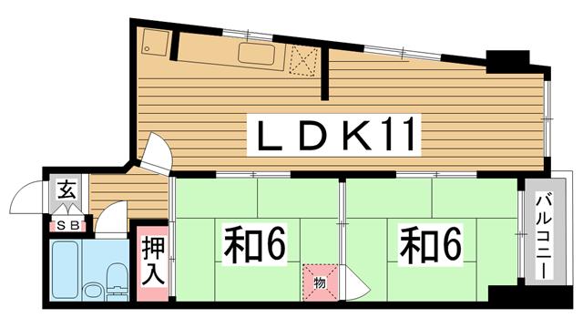 物件番号: 1025866213 グレイスハイツ新神戸  神戸市中央区布引町2丁目 2LDK マンション 間取り図