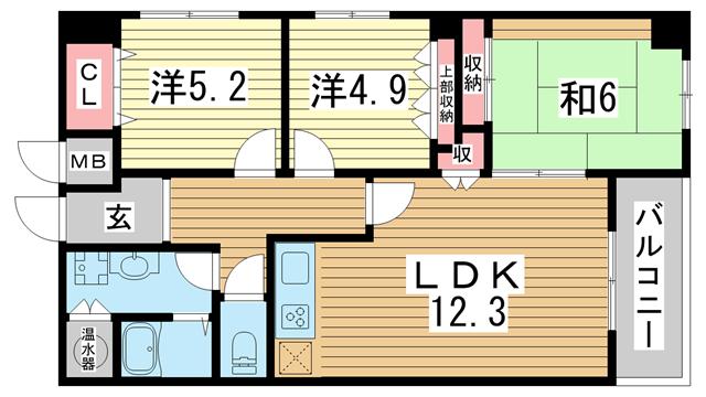 物件番号: 1025866262 万葉ハイツ元町  神戸市中央区下山手通3丁目 3LDK マンション 間取り図
