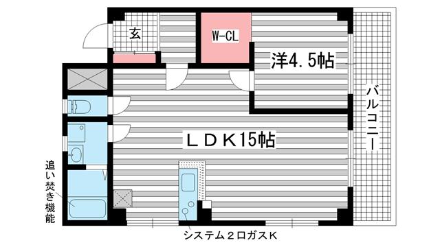 物件番号: 1025866293 国香レジデンス(旧:マトヤマンション  神戸市中央区国香通5丁目 1LDK マンション 間取り図
