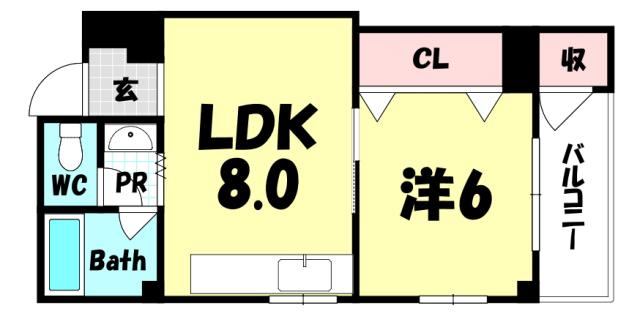 物件番号: 1025866300 新生ビル  神戸市中央区下山手通3丁目 1LDK マンション 間取り図