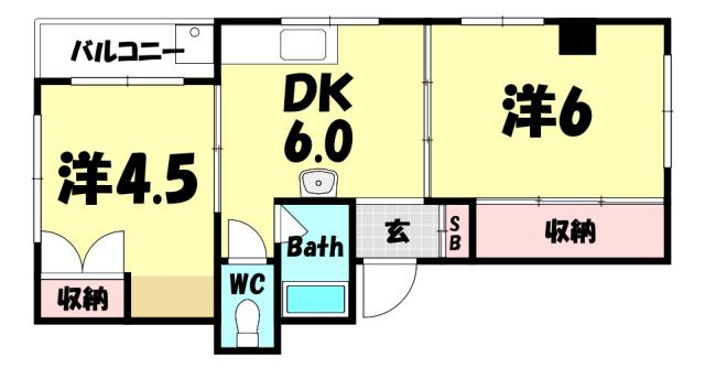 物件番号: 1025866315 アネックス大同  神戸市中央区北長狭通3丁目 2DK マンション 間取り図