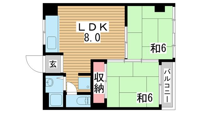 物件番号: 1025866375 久保田マンション  神戸市須磨区衣掛町5丁目 2LDK マンション 間取り図