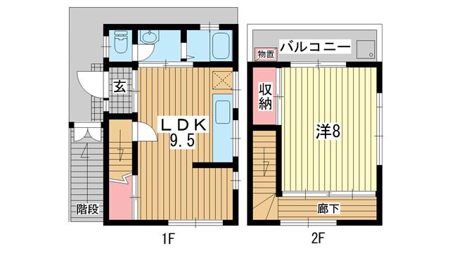 物件番号: 1025866391 籠池通3丁目戸建  神戸市中央区籠池通3丁目 1LDK 貸家 間取り図