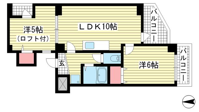 物件番号: 1025866512 グランシャリオ  神戸市中央区国香通5丁目 2LDK マンション 間取り図