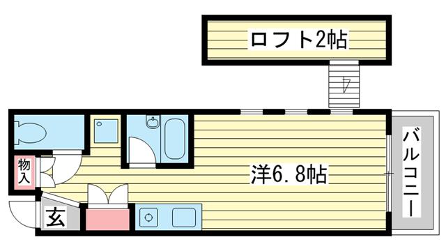 物件番号: 1025866541 ヨーロピアンコンフォート  神戸市中央区東雲通2丁目 1R ハイツ 間取り図