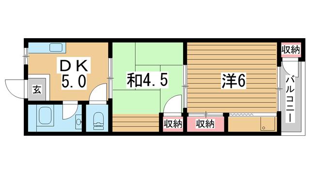 物件番号: 1025866574 平野マンション  神戸市兵庫区上三条町 2DK マンション 間取り図