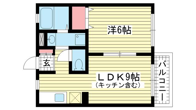 物件番号: 1025866590 中山手ガーデンパレスD棟  神戸市中央区中山手通7丁目 1LDK アパート 間取り図