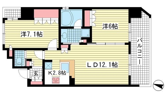 物件番号: 1025866633 リーガル神戸海岸通り  神戸市中央区海岸通4丁目 2LDK マンション 間取り図
