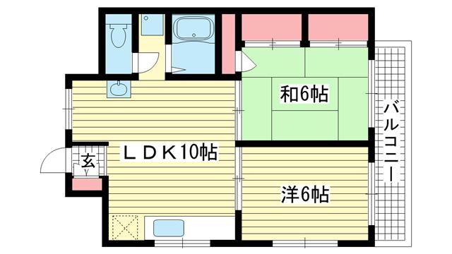 物件番号: 1025866651 松本ハイツ  神戸市兵庫区松本通8丁目 2LDK マンション 間取り図