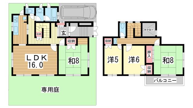 物件番号: 1025866666 中里町森野貸家  神戸市北区中里町1丁目 4LDK 貸家 間取り図