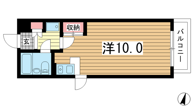 物件番号: 1025866796 大昭マンション  神戸市中央区山本通2丁目 1R マンション 間取り図