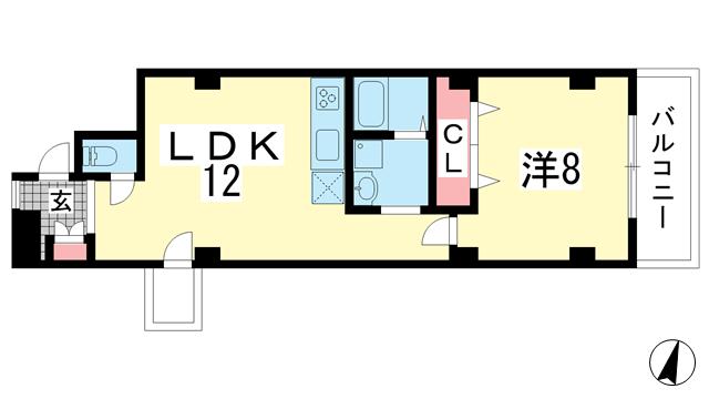 物件番号: 1025866804 プティローズ  神戸市中央区筒井町3丁目 1LDK マンション 間取り図
