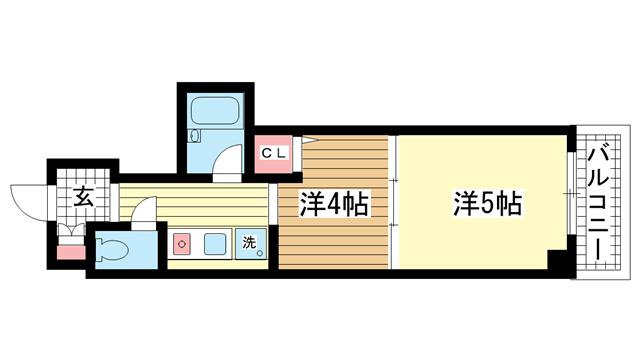 物件番号: 1025866850  神戸市中央区下山手通4丁目 1DK マンション 間取り図
