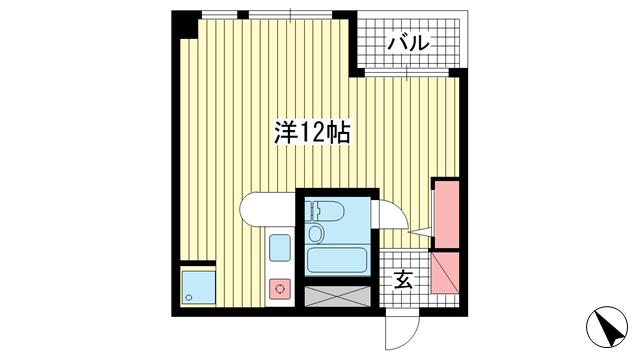 物件番号: 1025866880 グラン・ピア下山手通  神戸市中央区花隈町 1R マンション 間取り図