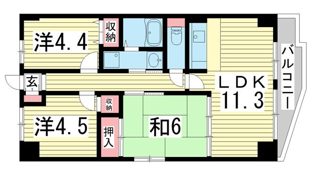 物件番号: 1025866907 エテルノ神戸  神戸市中央区国香通3丁目 2SLDK マンション 間取り図