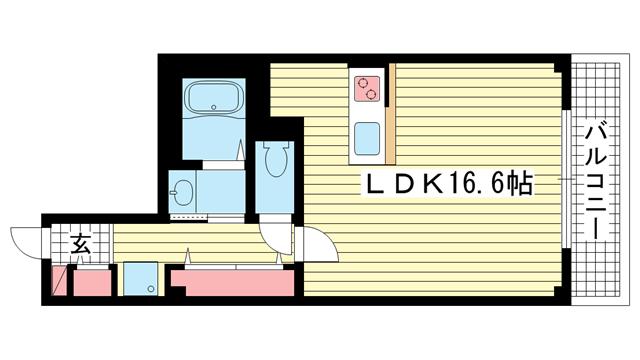 物件番号: 1025866947 プレコート岡田  神戸市中央区多聞通2丁目 1K マンション 間取り図