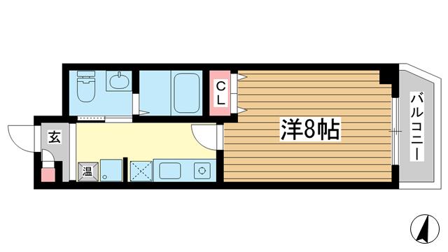 物件番号: 1025866983 フキ三宮ビル  神戸市中央区御幸通6丁目 1K マンション 間取り図