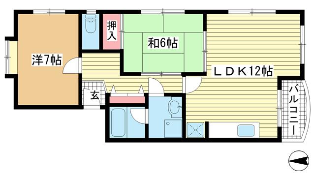 物件番号: 1025866986 マンションキシモト熊内橋  神戸市中央区熊内橋通1丁目 2LDK マンション 間取り図