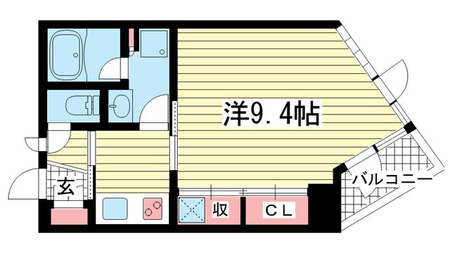物件番号: 1025867035 アンリーヴ北野  神戸市中央区山本通2丁目 1K マンション 間取り図