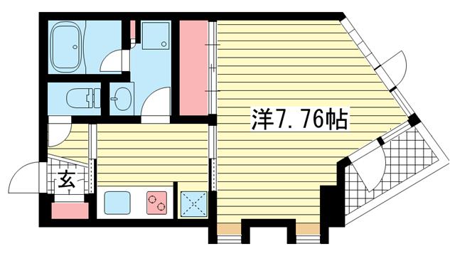 物件番号: 1025867040 アンリーヴ北野  神戸市中央区山本通2丁目 1K マンション 間取り図