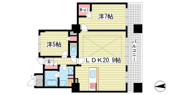 物件番号: 1025867046 ライオンズタワー神戸旧居留地  神戸市中央区伊藤町 2LDK マンション 間取り図