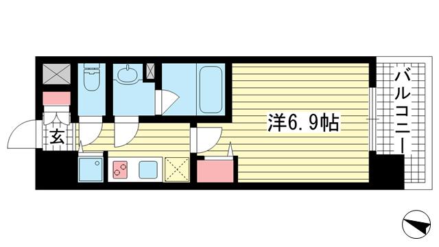 物件番号: 1025867068 アドバンス神戸プリンスパーク  神戸市中央区割塚通2丁目 1K マンション 間取り図