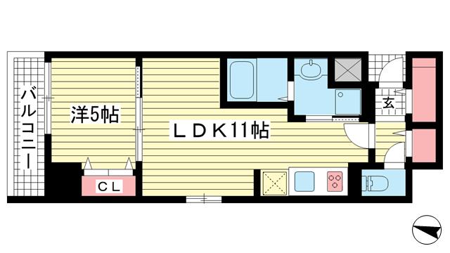 物件番号: 1025867092 神戸ハーバーサイド 萬利レジデンス  神戸市中央区海岸通2丁目 1LDK マンション 間取り図