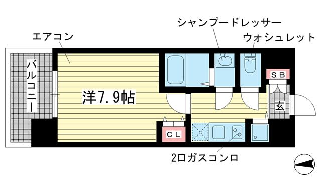 物件番号: 1025867106 エスライズ新神戸Ⅱ  神戸市中央区生田町2丁目 1K マンション 間取り図