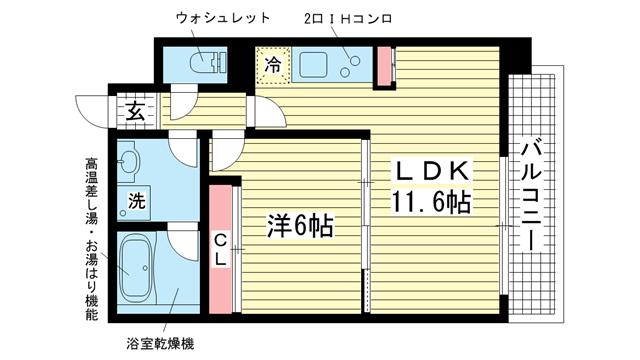 物件番号: 1025867151 古満ゲボイデ  神戸市中央区海岸通3丁目 1LDK マンション 間取り図