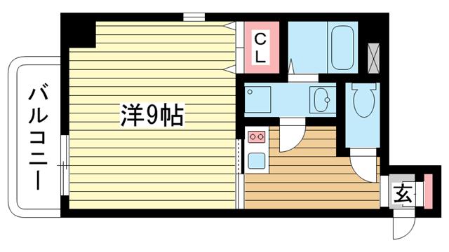 物件番号: 1025867157 アクアプレイス新神戸駅前  神戸市中央区熊内町7丁目 1R マンション 間取り図
