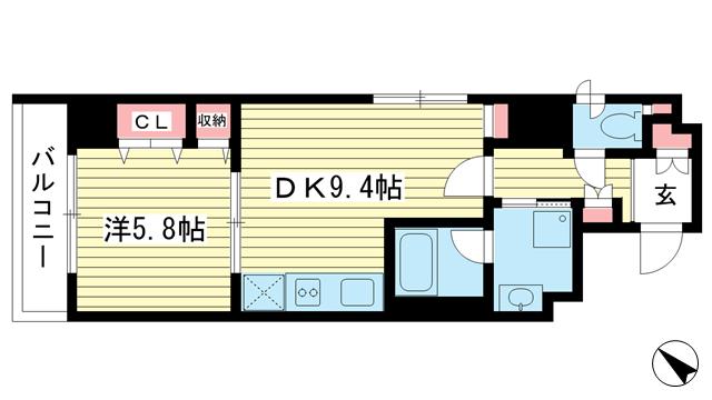 物件番号: 1025867227 ライオンズマンション神戸元町第5  神戸市中央区元町通5丁目 1DK マンション 間取り図