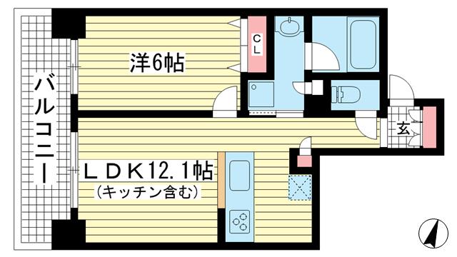 物件番号: 1025867231 ワコーレKOBE元町通  神戸市中央区元町通3丁目 1LDK マンション 間取り図