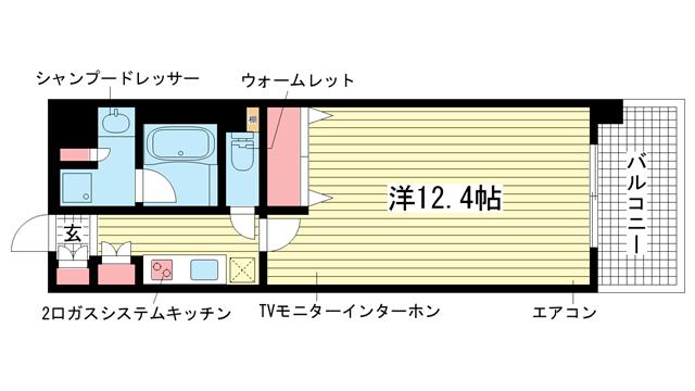 物件番号: 1025867233 KAISEI新神戸  神戸市中央区加納町2丁目 1K マンション 間取り図