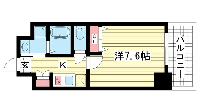 物件番号: 1025867251 アドバンス神戸グルーブ  神戸市中央区生田町3丁目 1K マンション 間取り図