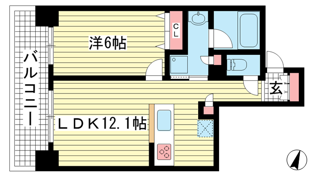 物件番号: 1025867254 ワコーレKOBE元町通  神戸市中央区元町通3丁目 1LDK マンション 間取り図