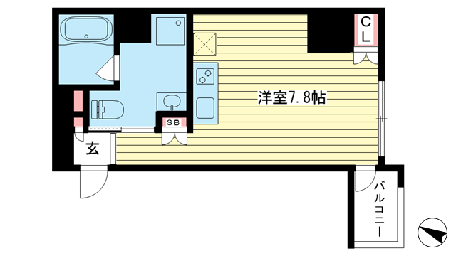 物件番号: 1025867290 ネオアージュ神戸元町  神戸市中央区元町通7丁目 1K マンション 間取り図