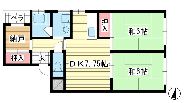 物件番号: 1025867381 佐々木マンション  神戸市兵庫区新開地4丁目 2SDK マンション 間取り図