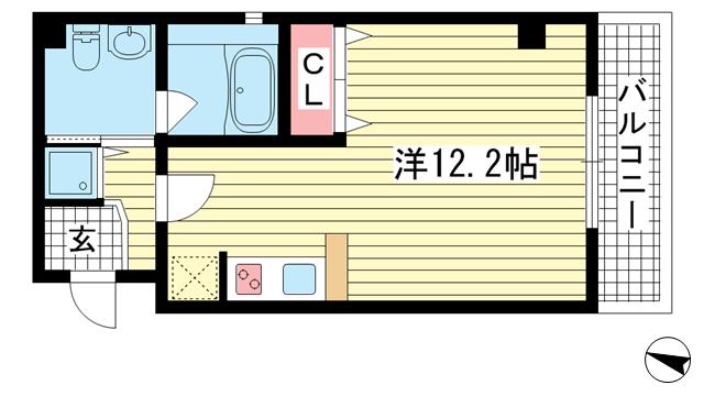 物件番号: 1025867572 Wohl gefallen~ヴォール ゲファレン~  神戸市中央区山本通1丁目 1R マンション 間取り図