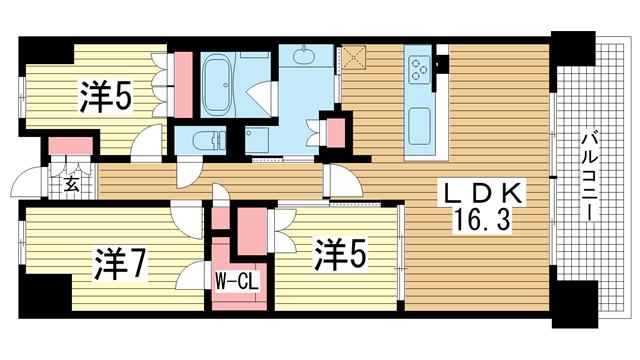 物件番号: 1025867592 ワコーレシティ神戸三宮  神戸市中央区浜辺通6丁目 3LDK マンション 間取り図