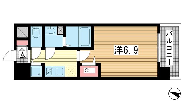 物件番号: 1025867594 アドバンス神戸プリンスパーク  神戸市中央区割塚通2丁目 1K マンション 間取り図