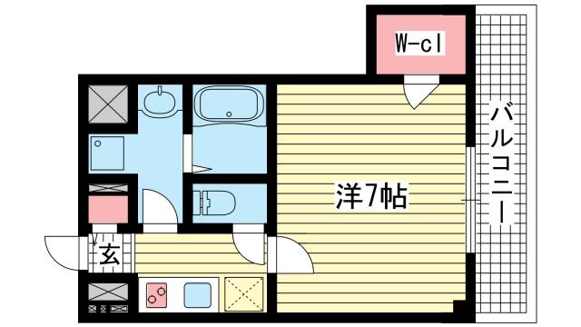 物件番号: 1025867694 シュマンセプト神戸  神戸市中央区北長狭通8丁目 1K マンション 間取り図