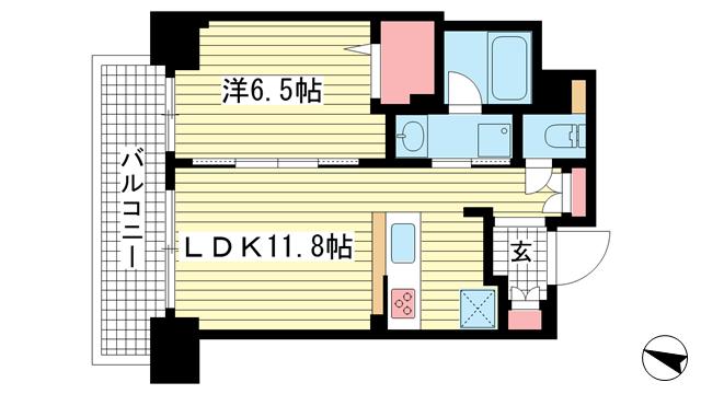 物件番号: 1025867846 ザ・神戸北野レジデンス  神戸市中央区中山手通1丁目 1LDK マンション 間取り図