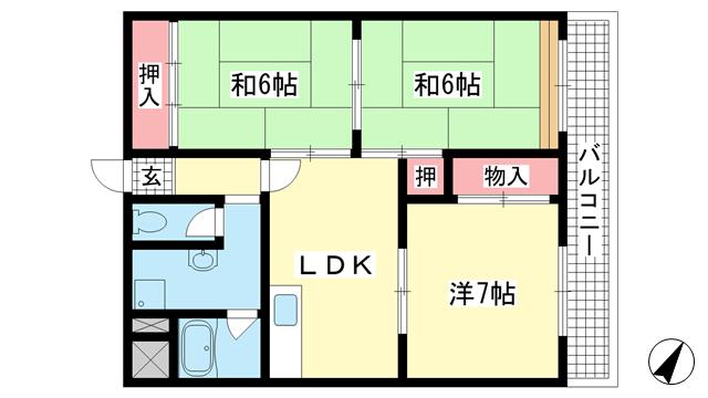 物件番号: 1025868010 グランドメゾン中山手  神戸市中央区中山手通4丁目 3LDK マンション 間取り図