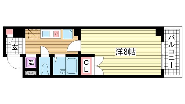 物件番号: 1025868094 ヴィラ神戸Ⅱ  神戸市兵庫区西上橘通1丁目 1K マンション 間取り図