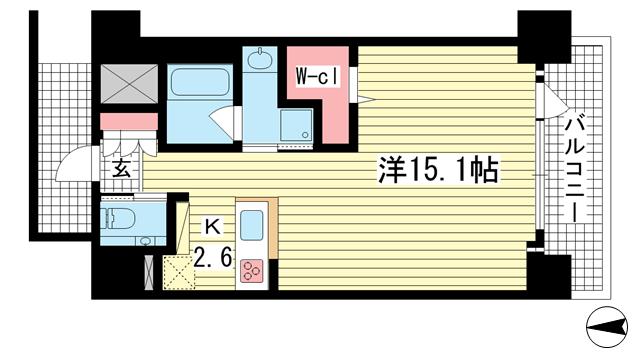 物件番号: 1025868171 ワコーレ神戸三宮マスターズレジデンス  神戸市中央区加納町3丁目 1K マンション 間取り図